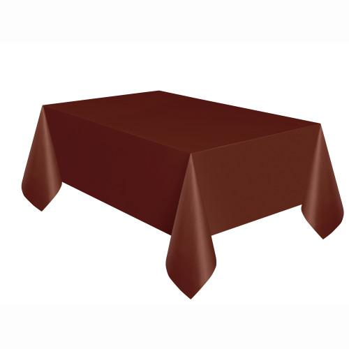 Brown Solid Rectangular Plastic Table Cover, 54