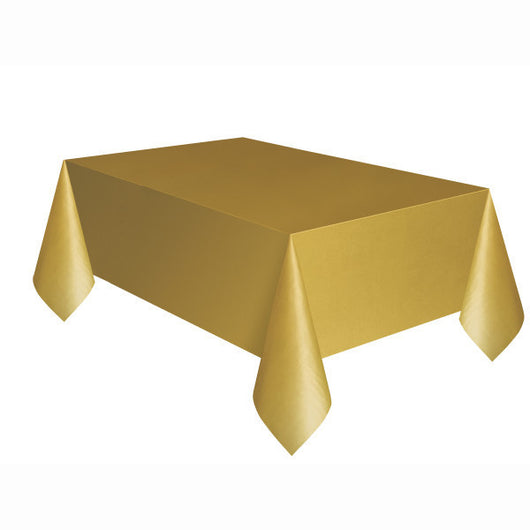 Gold Solid Rectangular Plastic Table Cover, 54