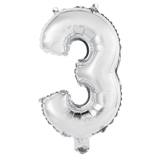 Silver Number 3 Shaped Foil Balloon 14