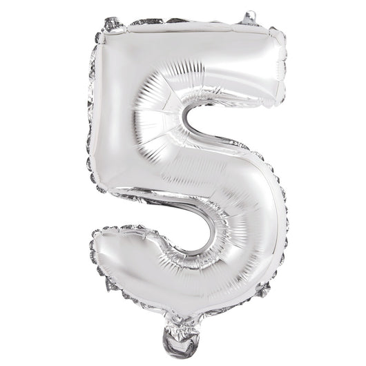 Silver Number 5 Shaped Foil Balloon 14