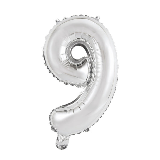 Silver Number 9 Shaped Foil Balloon 14