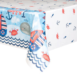 Little Sailor Nautical First Birthday Rectangular Plastic Table Cover, 54