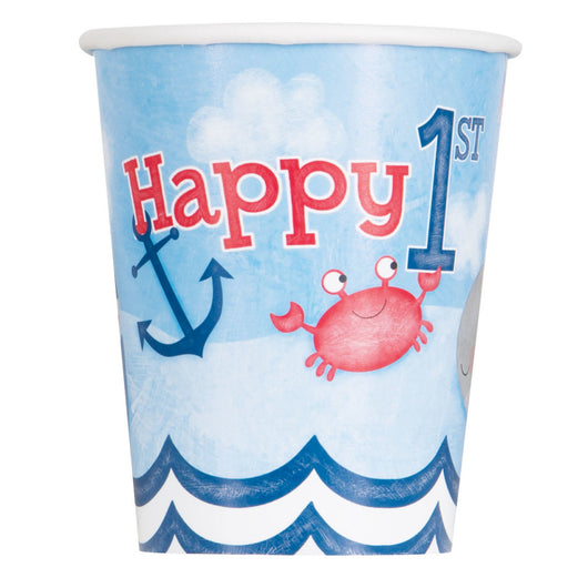 Little Sailor Nautical First Birthday 9oz Paper Cups, 8ct