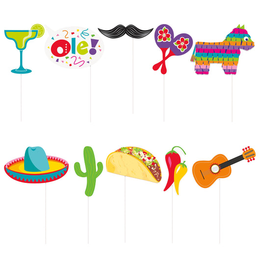 Mexican Fiesta Photo Booth Props, 10ct