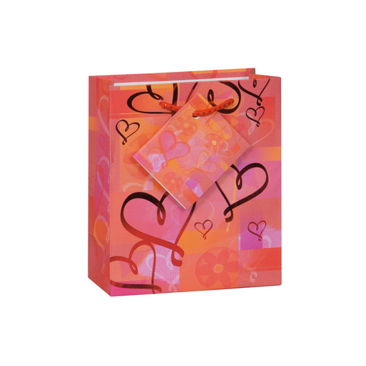 Glowing Hearts Foil Small Gift Bag