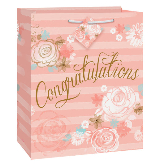 Gold & Pink Floral Congratulations Large Gift Bag