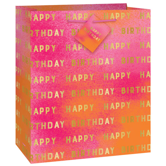 Gold & Pink Ombre Happy Birthday Medium Gift Bag