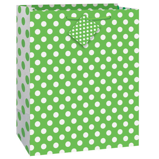 Lime Green Dots Large Gift Bag
