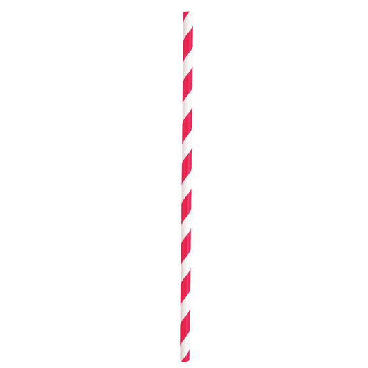 Ruby Red Striped Paper Straws, 10ct