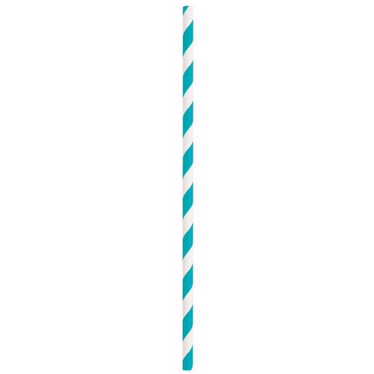 Caribbean Teal Striped Paper Straws, 10ct