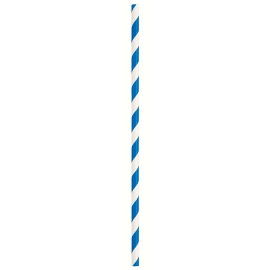 Royal Blue Striped Paper Straws, 10ct