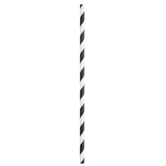 Black Striped Paper Straws, 10ct