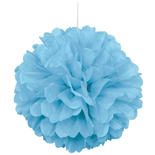 Powder Blue Mini Puff Tissue Decorations, 3ct