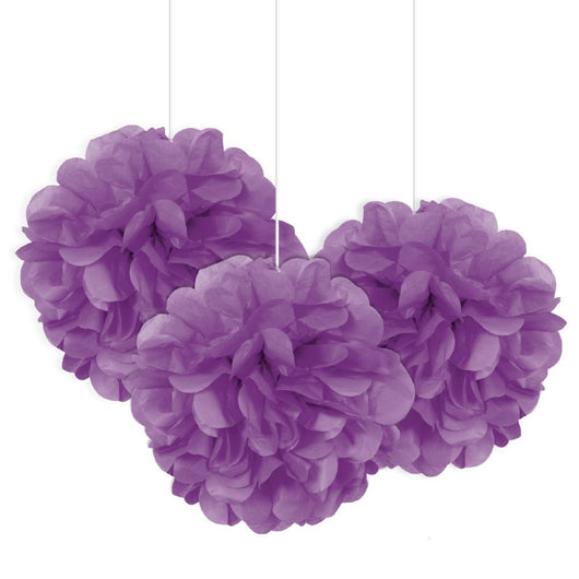 Pretty Purple Mini Puff Tissue Decorations, 3ct