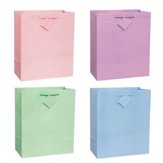 Solid Pastel Color Large Gift Bag Assortment