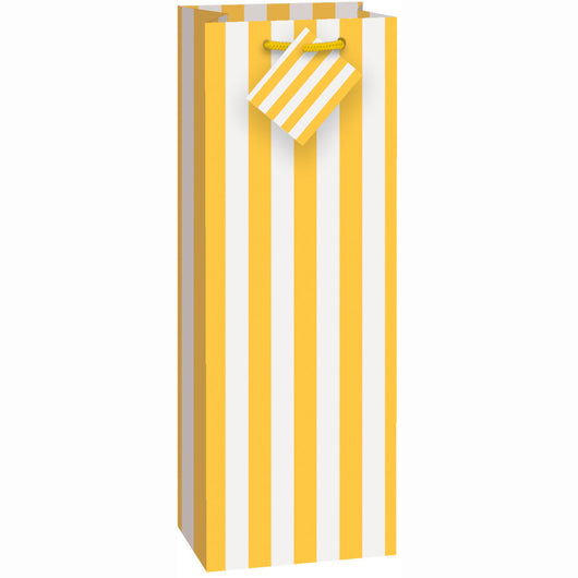Sunflower Yellow Stripes Wine Gift Bag