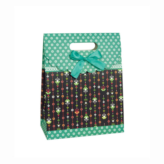 Teal Floral Purse Large Gift Bag