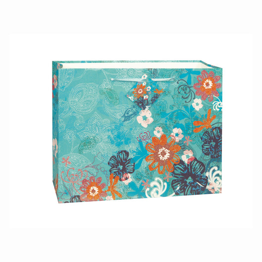 Teal Glitter Bouquet Horizontal Large Gift Bag