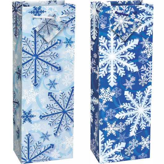 Sparkle Snowflake Wine Gift Bag Assortment