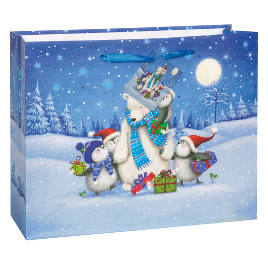Starry Night Christmas Horizontal Large Gift Bag
