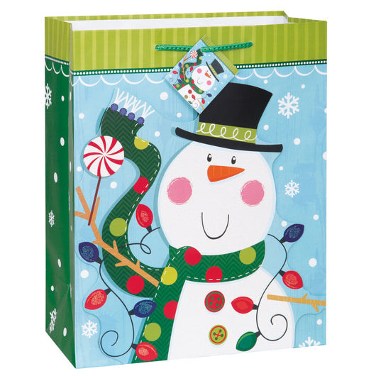 Glitter Snowman Holiday Large Gift Bag