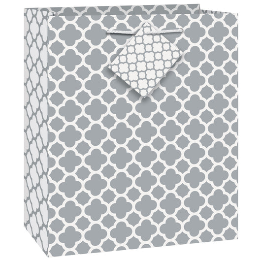 Silver Quatrefoil Medium Gift Bag