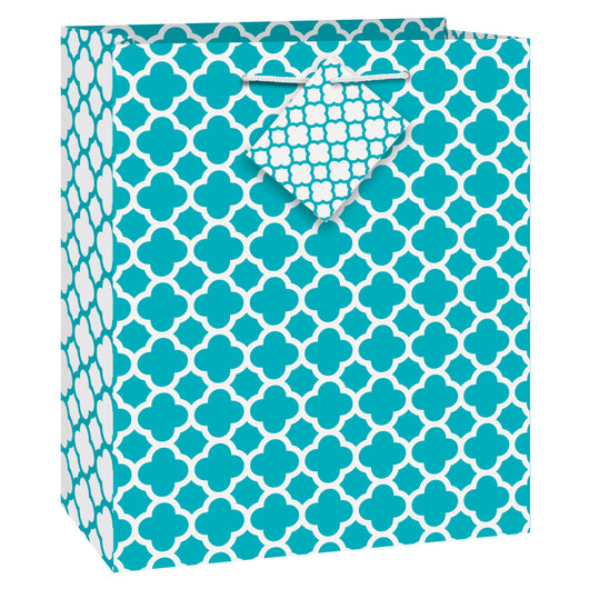 Caribbean Teal Quatrefoil Medium Gift Bag