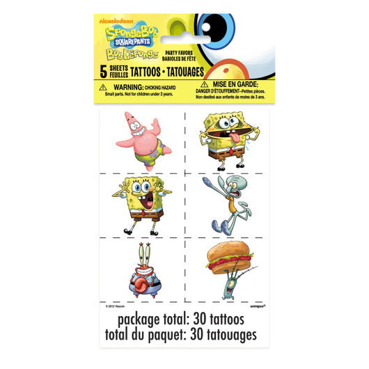 SpongeBob SquarePants Color Tattoos, 30ct