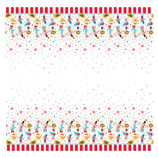 Circus Carnival Rectangular Plastic Table Cover, 54