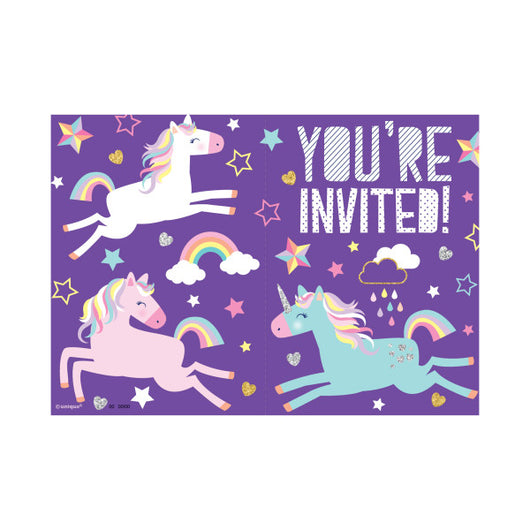 Unicorn Invitations, 8ct