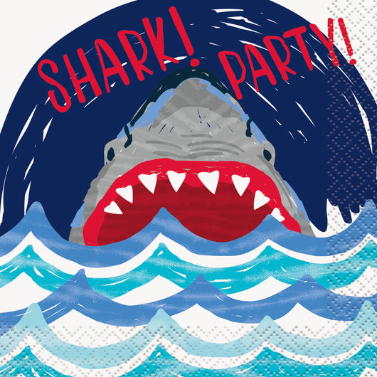 Shark Party Beverage Napkins, 16ct