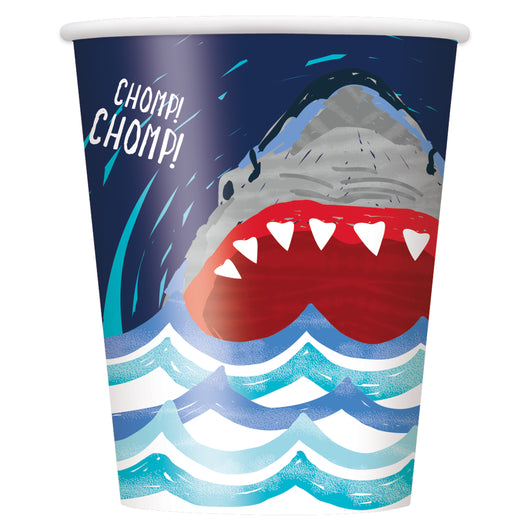 Shark Party 9oz Paper Cups, 8ct