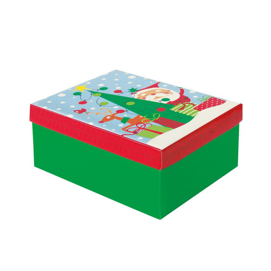 Colorful Santa Christmas Gift Box - Medium