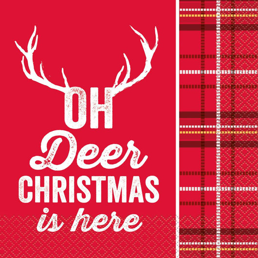 Plaid Deer Christmas Luncheon Napkins, 16ct