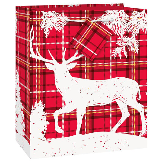 Plaid Deer Christmas Medium Gift Bag