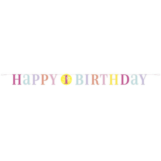 Pink Dots 1st Birthday Letter Banner, 6 ft