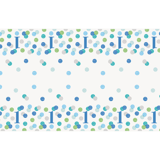 Blue Dots 1st Birthday Rectangular Plastic Table Cover, 54
