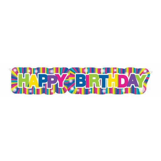 Starburst Neon Happy Birthday Giant Jointed Banner, 4.5 ft