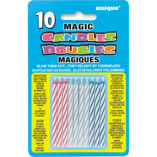 Multicolor Magic Birthday Candle, 10ct