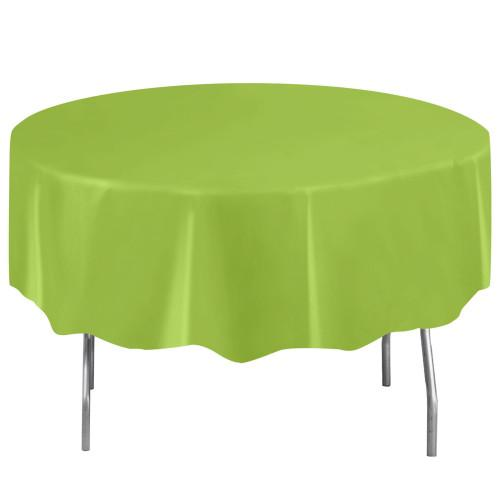 Neon Green Solid Round Plastic Table Cover, 84
