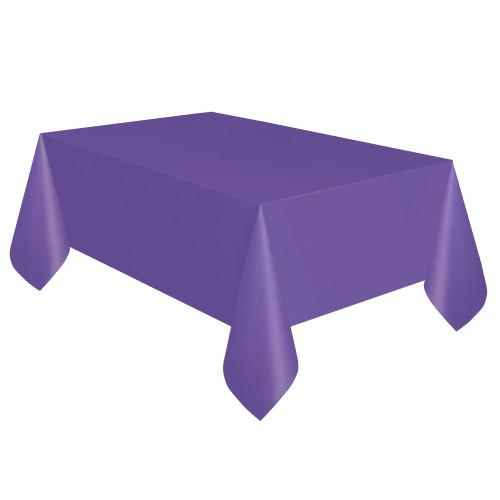 Neon Purple Solid Rectangular Plastic Table Cover, 54