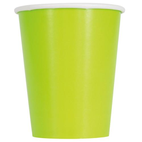 Neon Green Solid 9oz Paper Cups, 14ct
