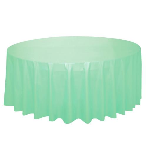 Mint Solid Round Plastic Table Cover, 84