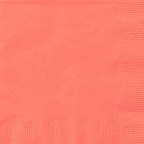 Coral Solid Luncheon Napkins, 20ct