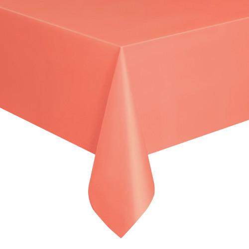 Coral Solid Rectangular Plastic Table Cover, 54