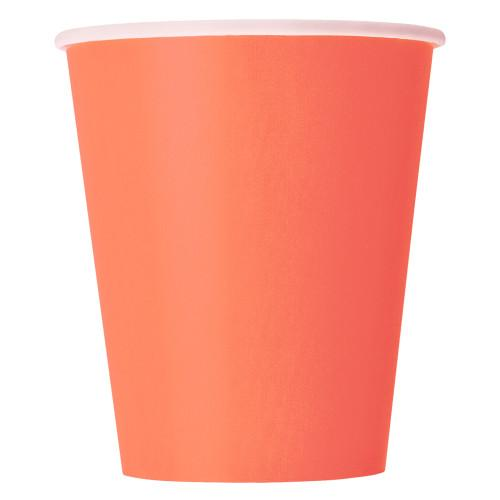 Coral Solid 9oz Paper Cups, 14ct