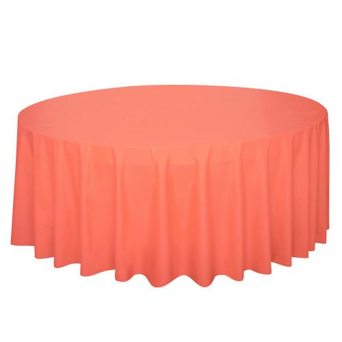 Coral Solid Round Plastic Table Cover, 84