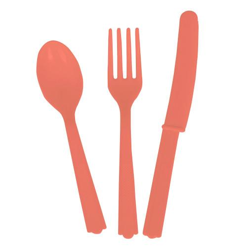 Coral Solid Assorted Plastic Cutlery Box, 18ct