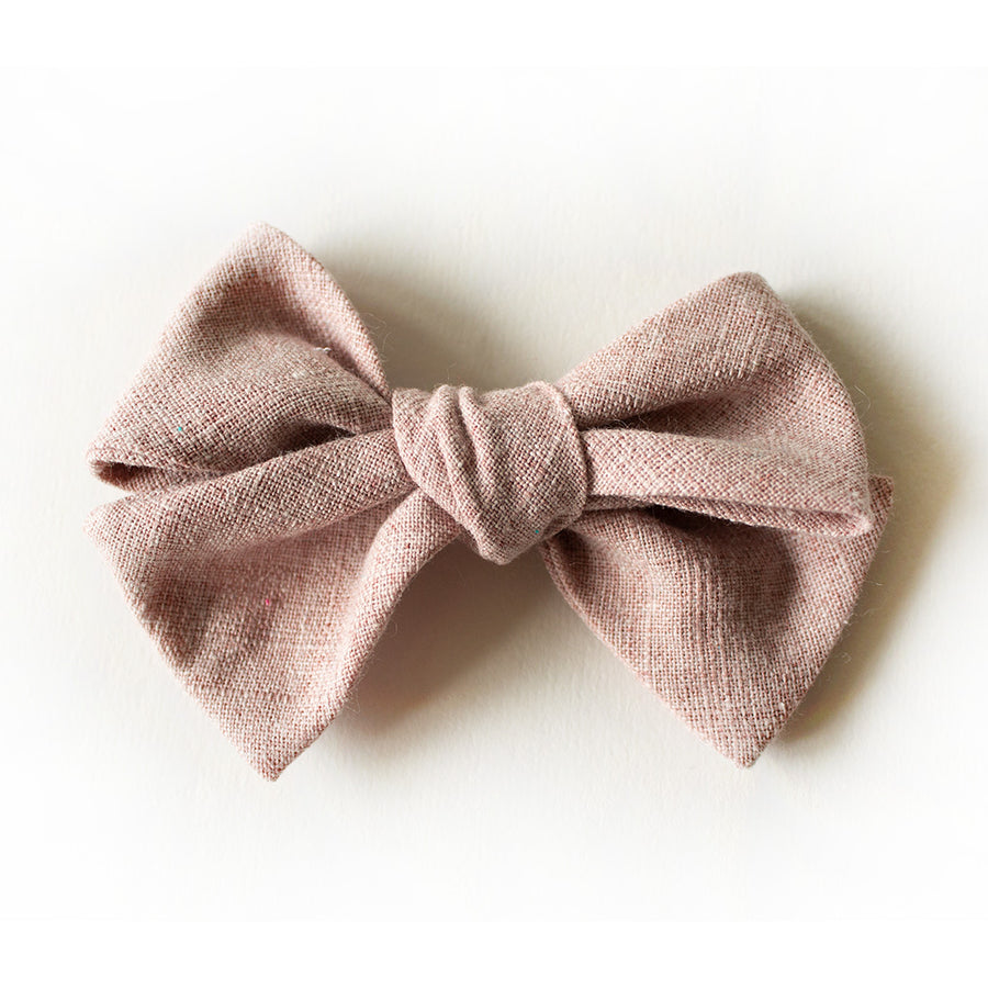 Blushing Linen Hair Bow for Girls