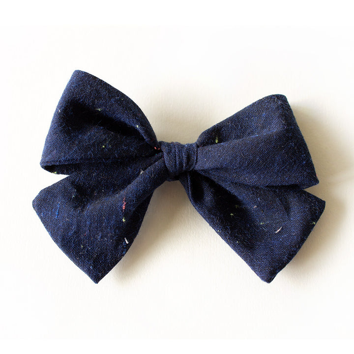 Lake House Linen Hair Bow for Girls